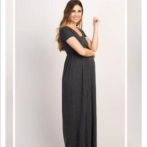 Pinkblush Dresses - Pinkblush Charcoal Solid Short Sleeve Maxi Dress